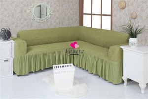 Чехол на диван угловой 2+3 универсальный с оборкой (1шт.)  ,молодая зелень