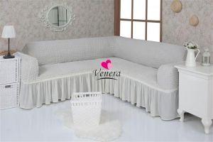 Чехол на диван угловой 2+3 универсальный с оборкой (1шт.)  ,натуральный