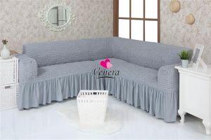 Чехол на диван угловой 2+3 универсальный с оборкой (1шт.)  ,Серый