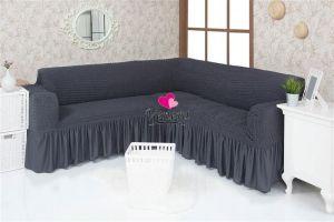 Чехол на диван угловой 2+3 универсальный с оборкой (1шт.)  ,Темно-Серый