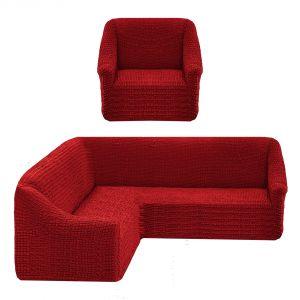 Чехол на угловой диван без оборки универсальный+1 кресло,Кирпичный