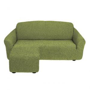 Чехол для углового дивана оттоманка без оборки  левый,молодая зелень