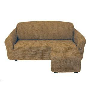 Чехол для углового дивана оттоманка без оборки правый,кофе