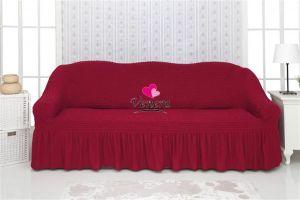 Чехол на 2-х местный диван с оборкой,бордовый