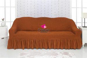 Чехол на 2-х местный диван с оборкой,т-коричневый