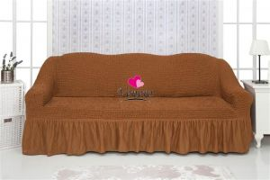 Чехол на 3х-местный диван с оборкой (1шт.)  , Коричневый