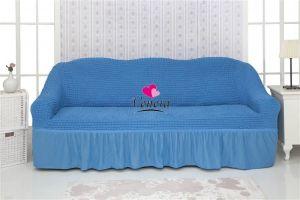 Чехол на 3х-местный диван с оборкой (1шт.)  ,Бирюзовый