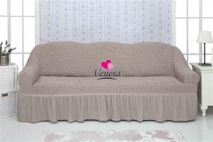 Чехол на 3х-местный диван с оборкой (1шт.)  ,Жемчужный