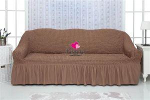 Чехол на 3х-местный диван с оборкой (1шт.)  ,Какао