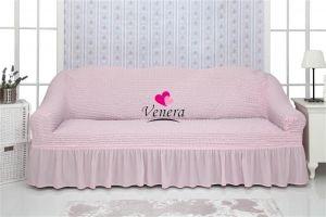Чехол на 3х-местный диван с оборкой (1шт.)  ,Светло-розовый