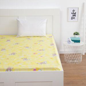 Простыня Экономь и Я «Мишки», цвет жёлтый, 150х215 см (±3 см), бязь