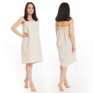 Килт(юбка) жен. комбинированный, арт:КЛ-11 75х145 горошек, полулён, Хл50%, лён50%, 160 г/м   2581046