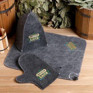 """Банный набор вышивка шапка, коврик и рукавица """"Директору бани! Горячего пара"""" 2761060"""