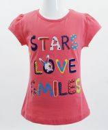 "Футболка для девочек Bonito kids ""Stars love smiles"" 4-8 лет малиновая"