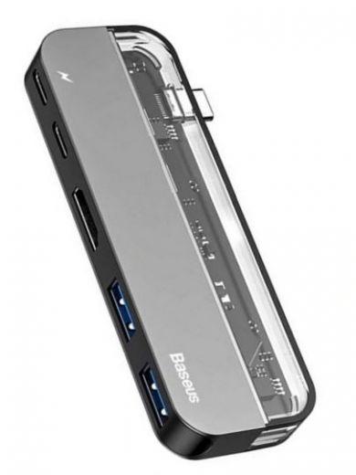 Baseus Transparent Series Type-C Multifunctional HUB Adapter Deep gray