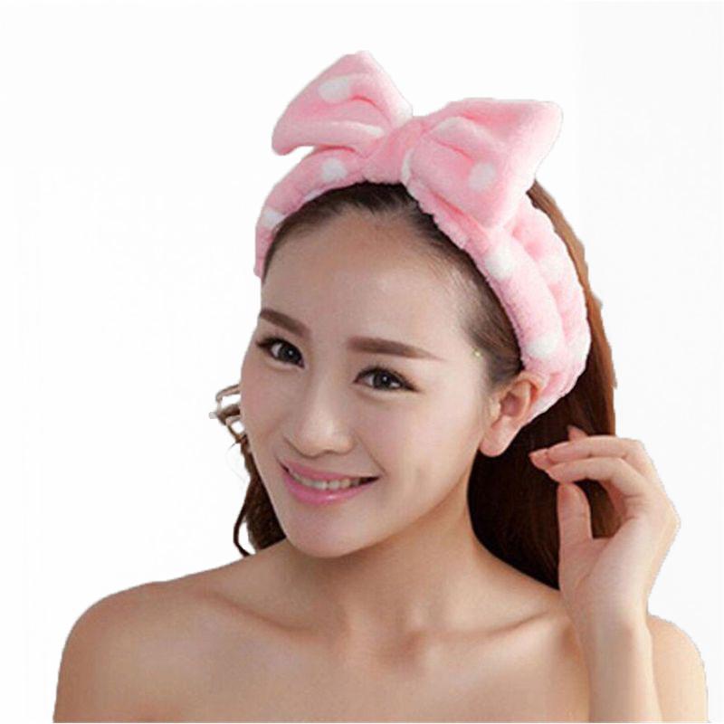 Повязка косметическая для волос с бантом Розовый в горох