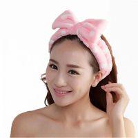 Повязка косметическая для волос с бантом Розовый в горох_1