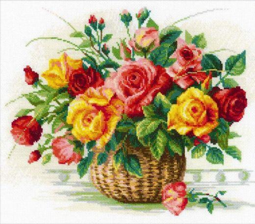 Набор для вышивания крестом Корзина с розами №1722 фирма Риолис