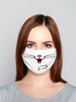 Маска для лица ( 2х слойная) белая  с рисунком №003
