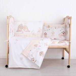 """Комплект в кроватку (6 предметов) """"Любящие птенчики"""", бязь, хл100%   4194237"""