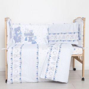 """Комплект в кроватку (6 предметов) """"Мишки и зайки"""", цвет голубой, бязь, хл100%   4351752"""