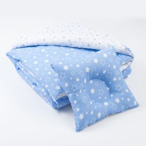 Комплект в кроватку (Одеяло детское, подушка фигурная) Серый/Голубой   4301179