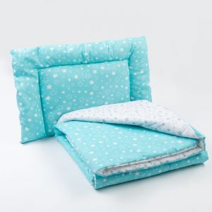 Комплект в кроватку (одеяло, подушка), цвет серый/бирюзовый   4301180