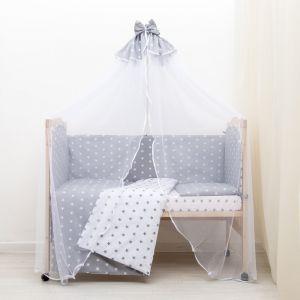 """Комплект в кроватку 7 пр. """"Мечта"""" (борт из 4-х частей), цвет серый, бязь хл100%   3837497"""