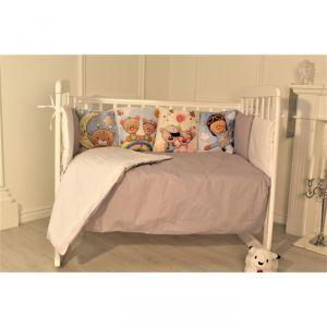 Комплект в кроватку Бурый мишка, цвет серый, 6 предметов, перкаль, хл100%   4644764