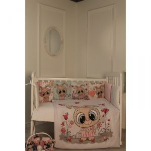 Комплект в кроватку Зайцы, цвет розовый, 6 предметов,перкаль, хл100%   4644760