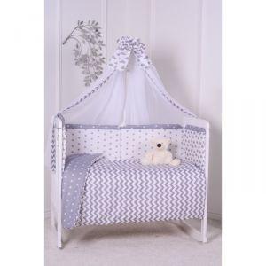 Комплект в кроватку Звездное небо, цвет серый, 7 предметов, сатин, хл100%, на резинке   4644757