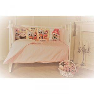 Комплект в кроватку Панно совята,  6 предметов,перкаль, хл100%   4644762