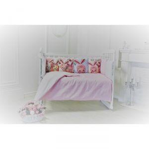 Комплект в кроватку Прекрасный зайчик, цвет розовый, 6 предметов, перкаль, хл100%   4644765