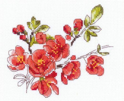 Набор для вышивания бисером Веточка цидонии №1819 фирма Риолис