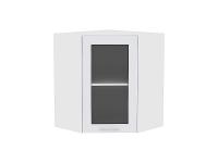 Шкаф верхний угловой Ницца Royal ВУ599 со стеклом в цвете Blanco