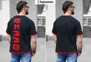 Можно заказать футболку с красной надписью BEARD по спинке и без надписи.