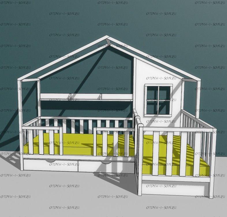 Кровать Домик угловой Fairy Land №19 (для двоих детей)