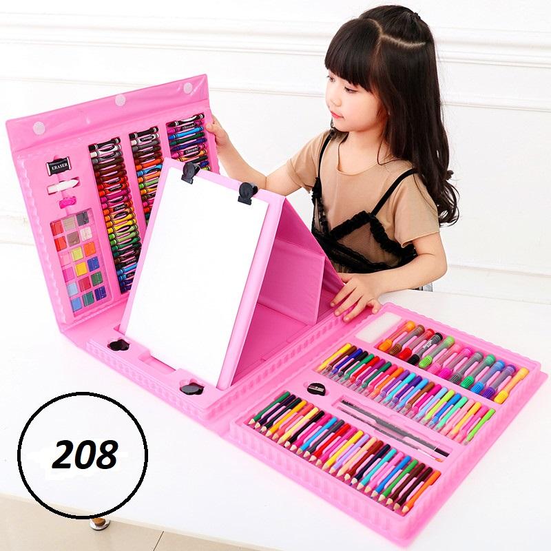 Набор для рисования со складным мольбертом в чемоданчике 208 предметов (цвет розовый)