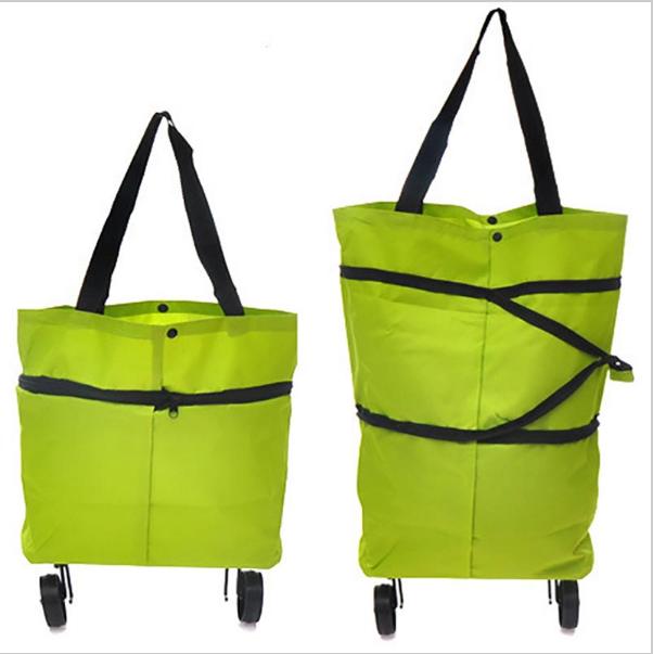 Складная сумка на колесиках, Цвет: Зеленый
