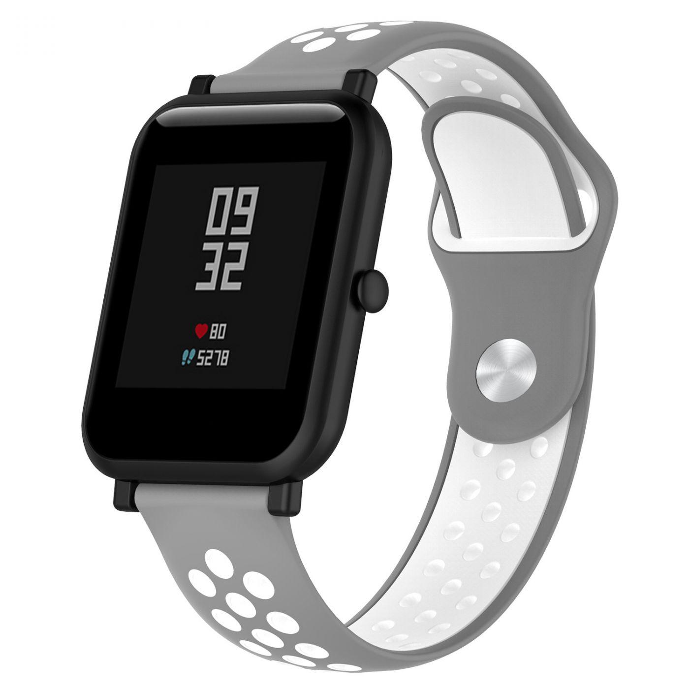 Сменный ремешок для Умных часов  Amazfit Bip Smartwatch (Серый - Белый)