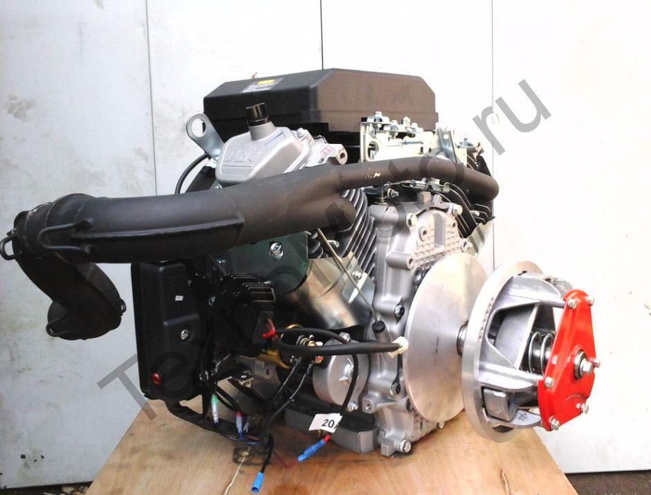 Двигатель на Буран 27 л.с., двухцилиндровый, 4-х тактный с электростартером, вариатором, коленом глушителя, электропроводка, катушка освещения 240 Ват