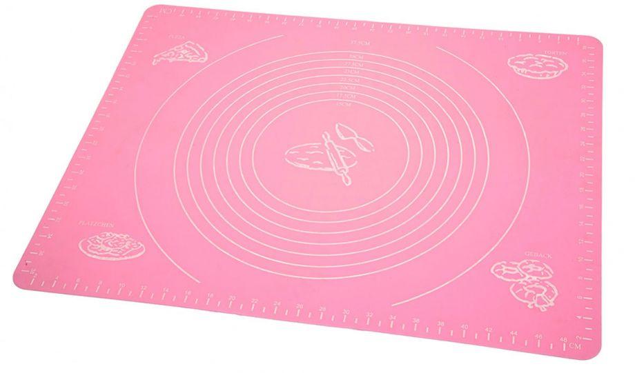 Силиконовый коврик для раскатывания теста, 65х45 см, Цвет: Розовый