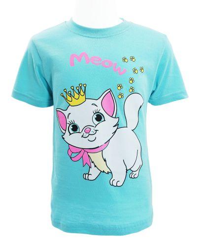 """Футболка для девочки 1-4 года Dias kids """"Meow"""" голубая"""