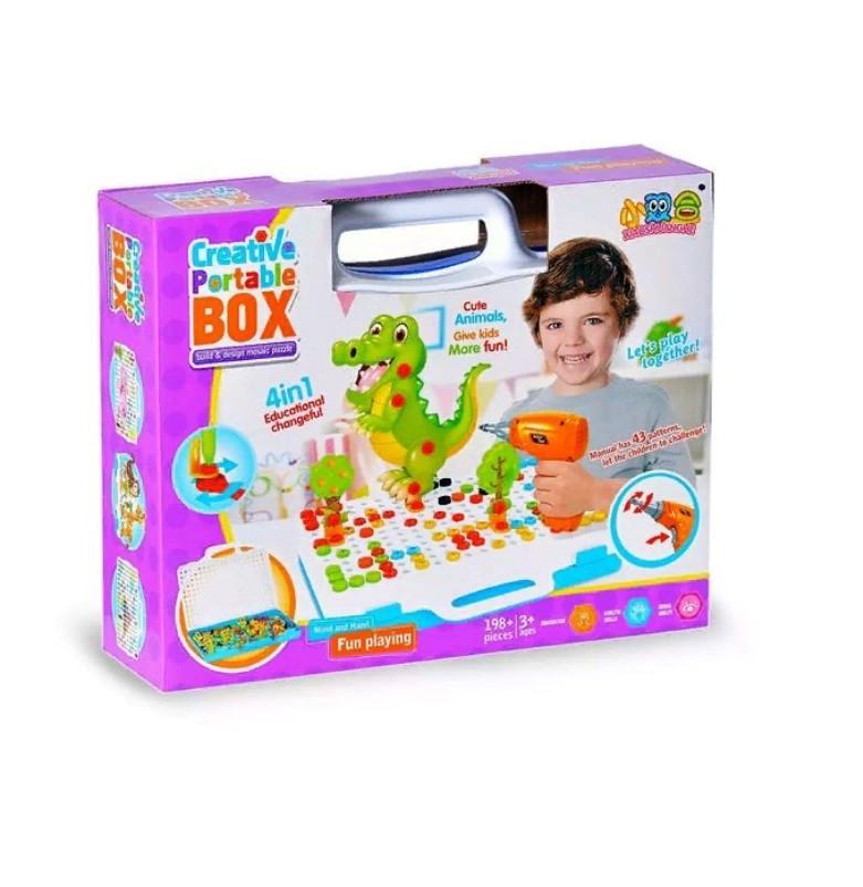 Конструктор-Мозаика С Шуруповёртом Creative Portable Box, 198 деталей