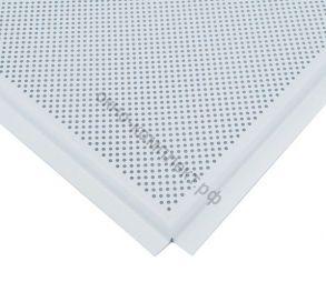 Потолочная панель алюминиевая белая перфорированная Line (T-24) 600х600х0,4мм