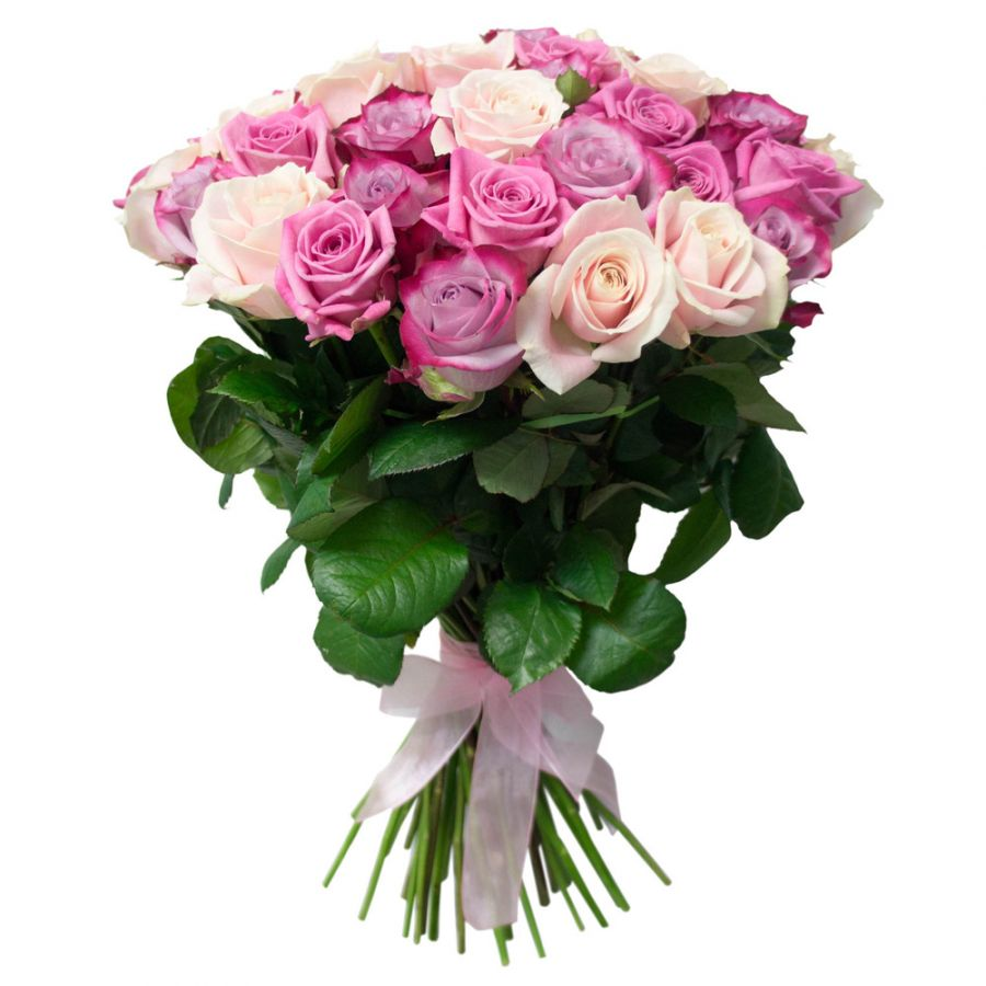 Сиренево-белые розы 50 см