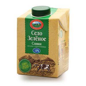 Сливки питьевые стерил 10% 500 гр Село зеленое