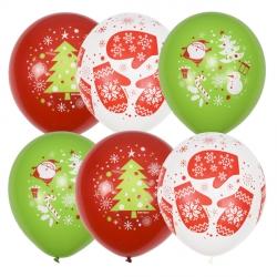 С Новым Годом Варежки латексные шары с гелием