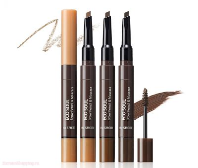 Тушь- карандаш для бровей The Saem Eco Soul Brow Pencil & Mascara  0,2гр/2,5мл