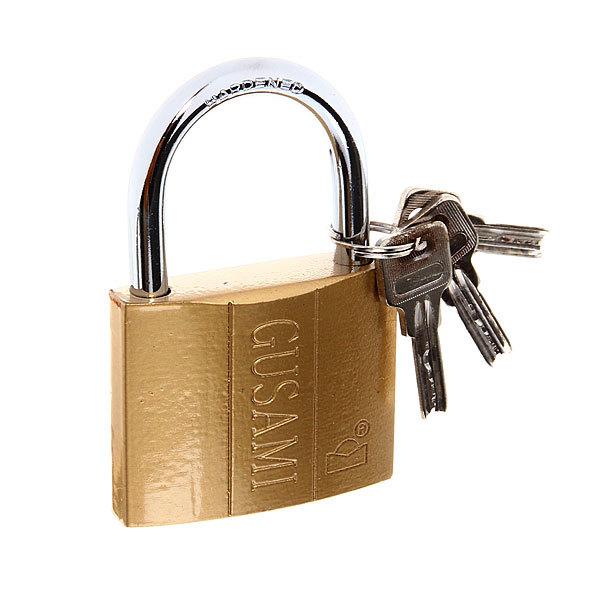 Замок навесной Gusami, 63 мм, золото полимер, ключ перфорированный дуга